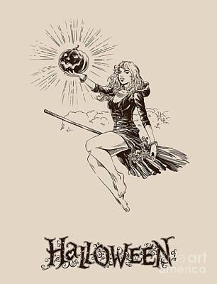 Broom Wall Art - Digital Art - Vintage Halloween Illustration by Kovaleva ka