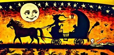 Painting - Vintage Halloween Scene by Florian Rodarte