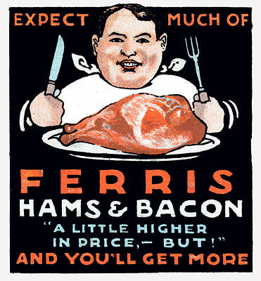 American Food Painting - Vintage Hams And Bacon by Historic Image
