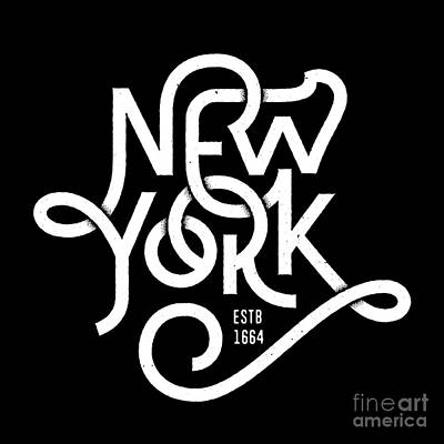 East Coast Wall Art - Digital Art - Vintage Hand Lettered Textured New York by Tortuga
