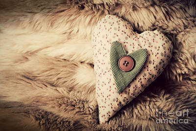Date Photograph - Vintage Handmade Plush Heart On The Soft Blanket by Michal Bednarek