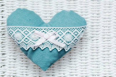 Feelings Photograph - Vintage Handmade Plush Turquoise Heart On White Rustic Wicker by Michal Bednarek