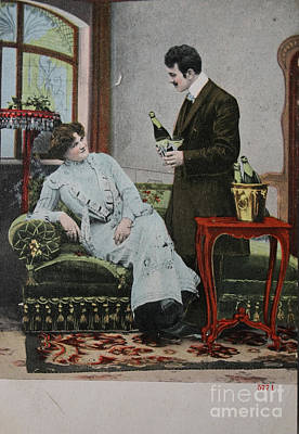 Pouring Wine Photograph - Vintage Handtinted Postcard Of 1904 Of Two Lovers by Patricia Hofmeester
