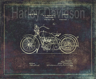 Bicycle Drawing - Vintage Harley - Davidson Motorcycle Patent Drawing by Maria Angelica Maira