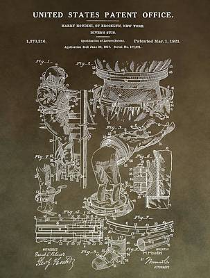 Fantasy Drawings - Vintage Harry Houdini Patent by Dan Sproul