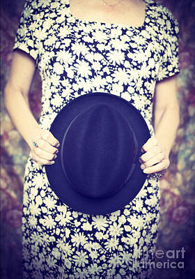 Mans Hat Photograph - Vintage Hat Flower Dress Woman by Edward Fielding