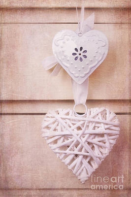 Vintage Hearts With Texture Art Print