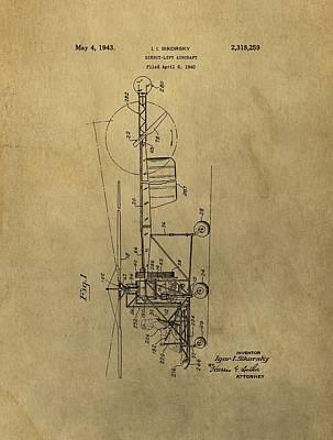 Aviators Drawing - Vintage Helicopter Patent by Dan Sproul