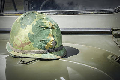 Photograph - Vintage Helmet On Jeep Hood by Bradley Clay
