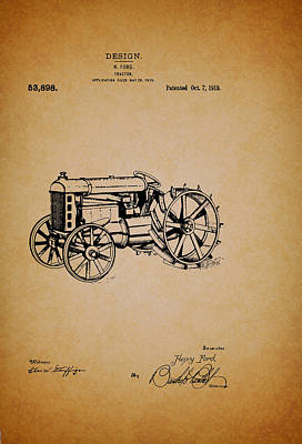 Tractor Drawing - Vintage Henry Ford Tractor Patent by Mountain Dreams