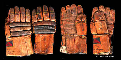 Vintage Hockey Gloves #1 Art Print by Spencer Hall