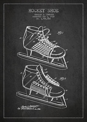 Sports Royalty-Free and Rights-Managed Images - Vintage Hockey Shoe Patent Drawing From 1935 by Aged Pixel