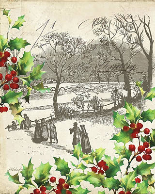 Vintage Holiday I Art Print by Katie Pertiet