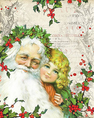 Santa Claus Painting - Vintage Holiday IIi by Katie Pertiet