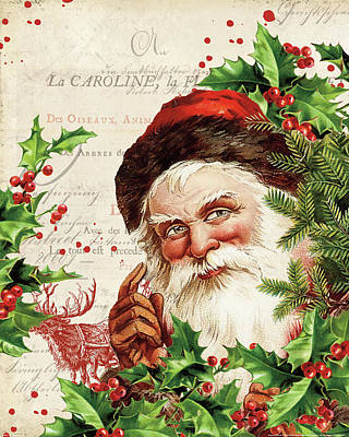 Santa Claus Painting - Vintage Holiday Iv by Katie Pertiet