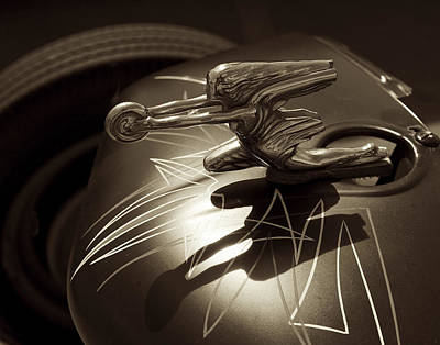 Photograph - Vintage Hood Ornament - Sepia Art Decoprint by Jane Eleanor Nicholas