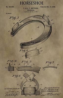 Digital Art - Vintage Horseshoe Patent by Dan Sproul