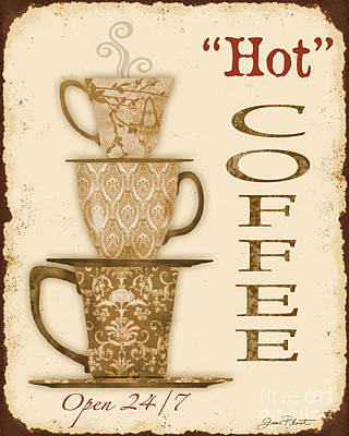 Jean Plout Digital Art - Vintage Hot Coffee Sign by Jean Plout