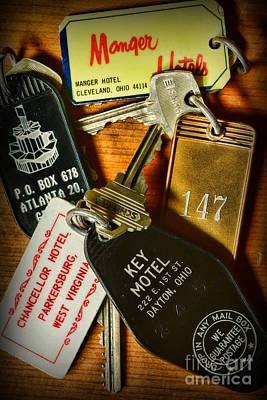 Vintage Hotel Keys Art Print by Paul Ward