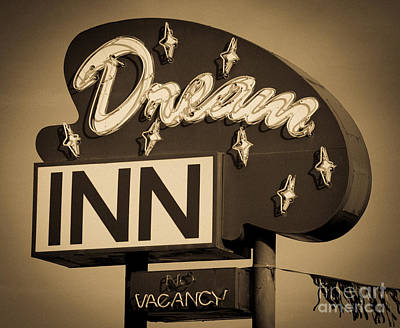 Vintage Hotel - Motel Sign Print by Gary Whitton