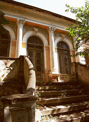 Photograph - Vintage House With Corinthian Columns And Concrete Stairs by Vlad Baciu