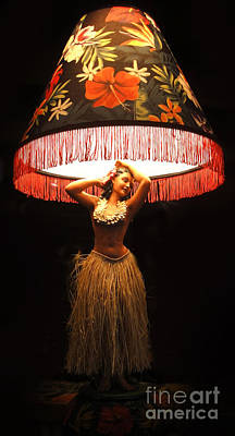 Vintage Hula Girl Lamp Art Print