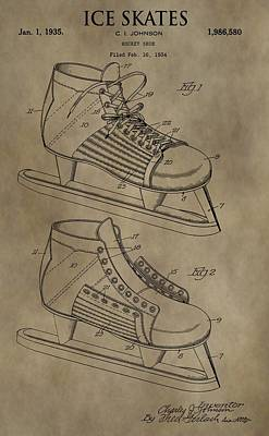 Winter Sports Mixed Media - Vintage Ice Skates Patent by Dan Sproul