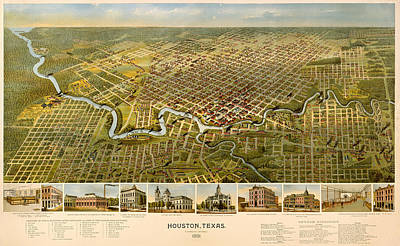 Historic Home Drawing - Vintage Illustrative Map Of Houston Texas by Mountain Dreams