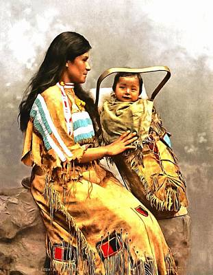 American Indian Children Painting - Ojibwast Equa And Papoose by Vintage Image Collection