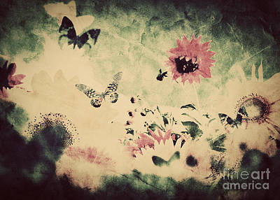 Damaged Photograph - Vintage Image Of Flowers And Butterfly At Spring Summer Time by Michal Bednarek