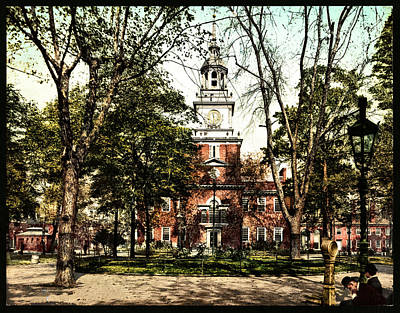 Vintage Independence Hall 1900 Colorized Print by Bill Cannon