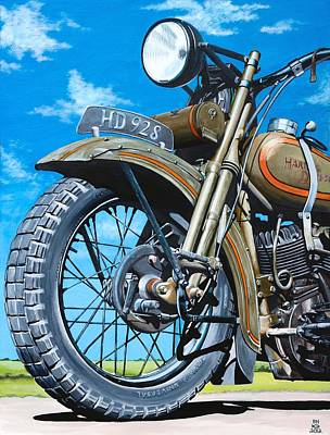 Painting - Vintage Indian Motorcycle by Branden Hochstetler