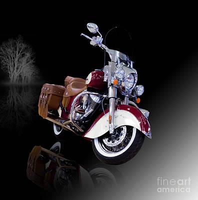 Vintage Indian Motorcycle Misty Night Art Print by Debra Chmelina