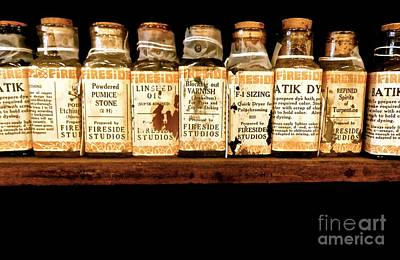 Photograph - Vintage Ink And Linseed Oil Bottles by Saundra Myles