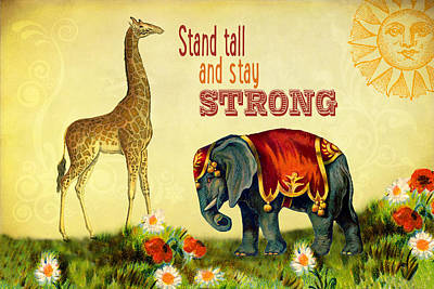 Digital Art - Vintage Inspirational Giraffe And Elephant by Peggy Collins