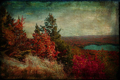 Vintage Inspired Adirondack Mountains In Fall Colors Art Print