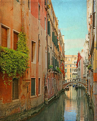 Vintage Inspired Venetian Canal  Art Print by Brooke T Ryan