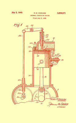 Vintage Internal Combustion Engine Patent 1940 Art Print by Mountain Dreams