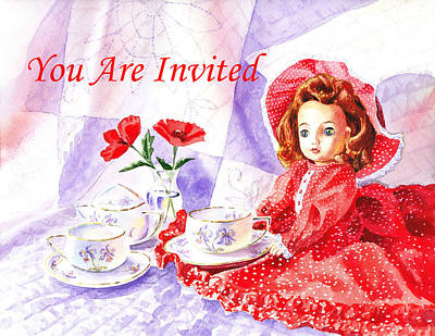 Dot Painting - Vintage Invitation by Irina Sztukowski