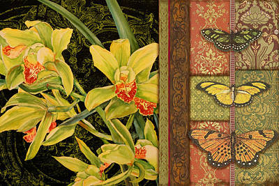 Butterfly Painting - Vintage Iris Tapestry by Jean Plout