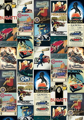 Citroen Digital Art - Vintage Italian Poster Imported From Florence Automobiles by Desiderata Gallery