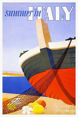 Italian Wine Drawing - Vintage Italy Travel Poster by Jon Neidert