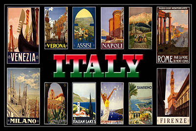 Photograph - Vintage Italy Travel Posters by Andrew Fare