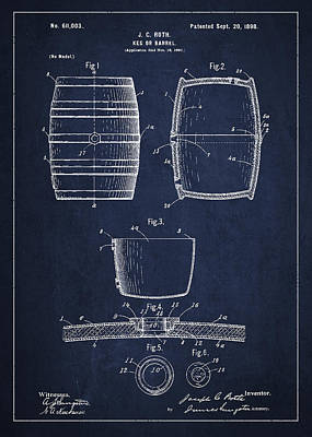 Keg Digital Art - Vintage Keg Or Barrel Patent Drawing From 1898 - Navy Blue by Aged Pixel