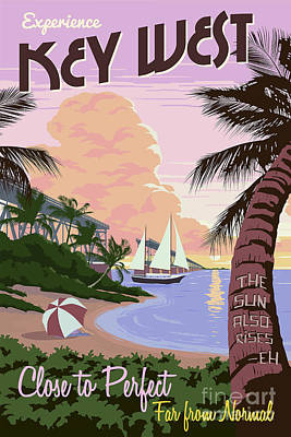 Beach Drawing - Vintage Key West Travel Poster by Jon Neidert