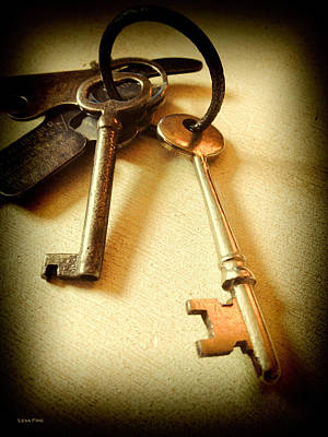 Photograph - Vintage Keys Antiqued Vignette by Lesa Fine