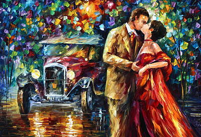 Antique Automobile Painting - Vintage Kiss by Leonid Afremov
