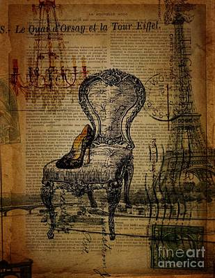 Vintage Lace Stiletto Rococo Chair Chandelier Paris Eiffel Tower Art Print by Cranberry Sky