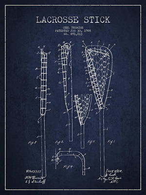 Vintage Lacrosse Stick Patent From 1908 Art Print by Aged Pixel