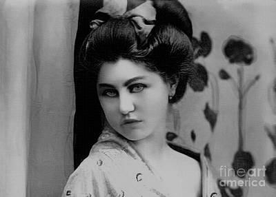 Photograph - Vintage Lady In Kimono Portrait Bw by Lesa Fine